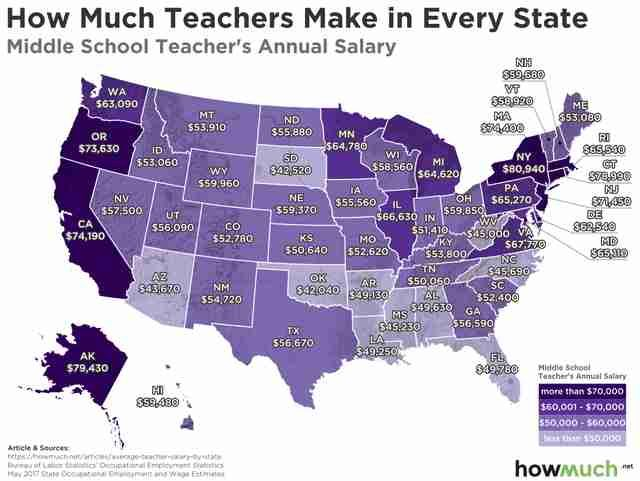 These Maps Show The Average Teacher S Salary In All 50 States Early Retirement Retirement Map