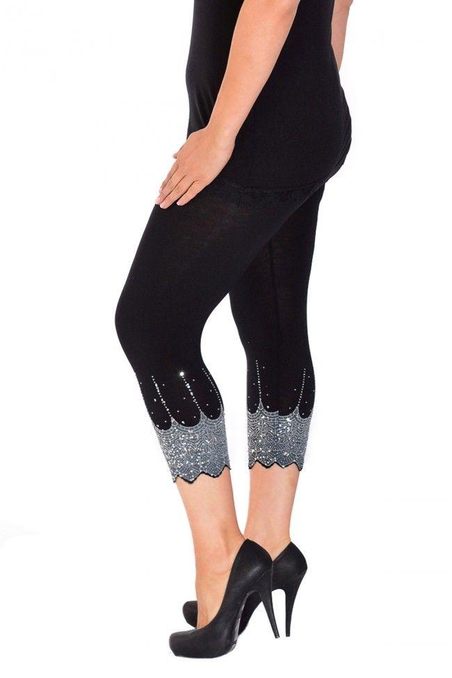 Embellished Scalloped Leggings - Black & Silver