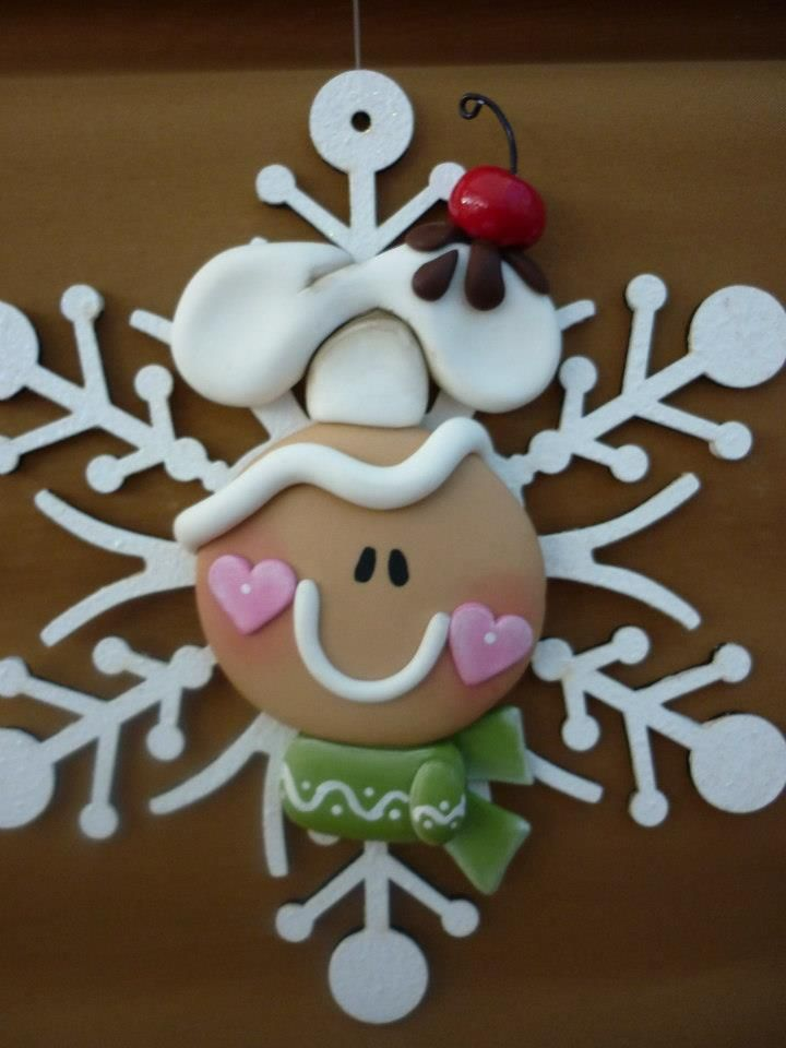 gingerbread snowflake clay ornament. make it white, and it will be an adorable snow person!