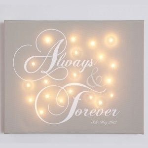 Personalised Light Up Canvas - Wedding Gift - Always & Forever - From £57.95