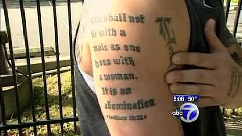 Man Tattoos Leviticus 18:22 That Forbids Homosexuality On His Arm, But Leviticus 19:28 Forbids Tattoos