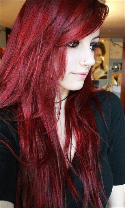 Blood Red Hair - Think I might incorporate this color into my blonde hair... Maybe keep the bags/front blonde and do the rest red.
