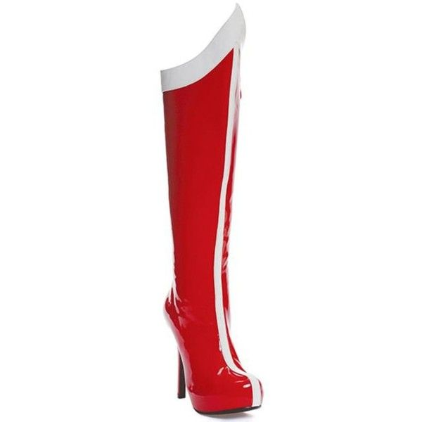 Red and White Womens Super Hero Boots ($60) ❤ liked on Polyvore featuring costumes, halloween costumes, multicolor, womens costumes, adult ladies halloween costumes, ladies superhero costumes, superhero costumes and adult superhero costumes