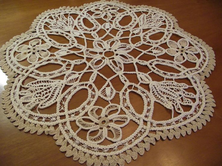 Table Runner Doily Romanian Point Lace Floral Pattern Point Lace Crochet Doily Beige Floral Pattern Traditional Romanian Macrame gift by RussianshawlMayya on Etsy
