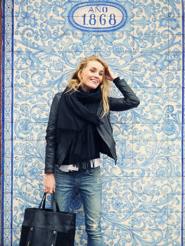 Style...Camilla Pihl // casual chic denim and leather jacket