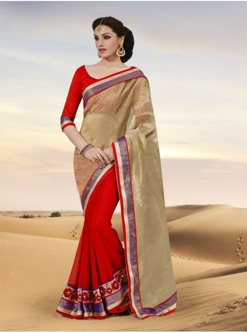 Golden and Red Chiffon and Net Half and Half Saree #Buyhalfandhalfsaree #Saree #Red #Golden #Netsaree #Chiffon