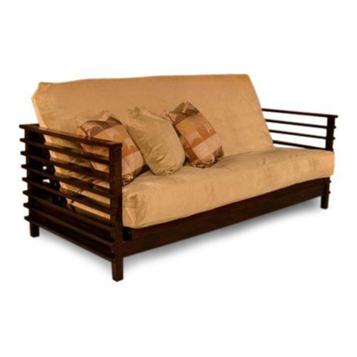 Orion Futon Frame by Strata Furniture. $749.99. Made to order, so finish may vary slightly. Can be used as a sofa or a full-size bed. Made from quality imported hardwoods for durability. Contemporary futon frame finished in a deep black walnut Designed for versatile display options. What We Like About This Futon Frame The Orion Futon is a contemporary, Asian-inspired piece that makes a beautiful sofa or daybed in any home. The signature black walnut finish completes...