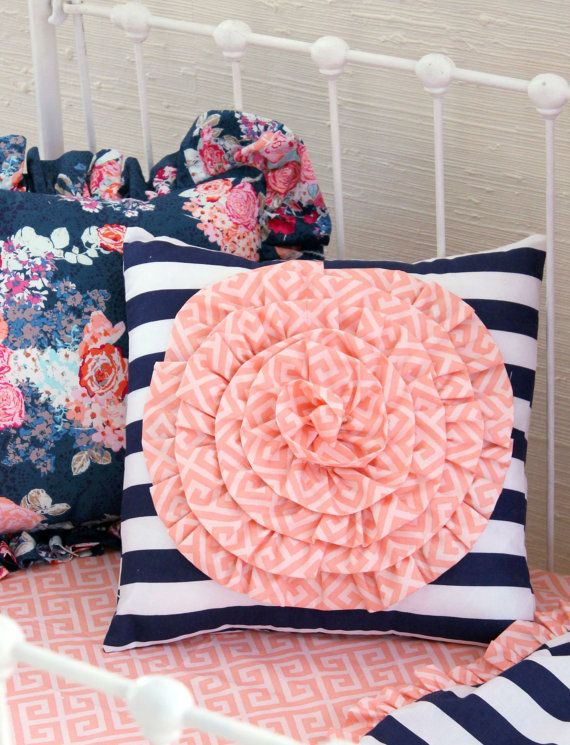 Coral and Navy Baby Girl Bedding Stripe and Floral by LottieDaBaby