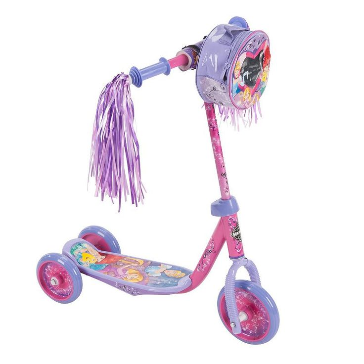 Disney Princess Ariel, Belle & Rapunzel Youth 3-Wheel Scooter with Handlebar Bag by Huffy, Pink