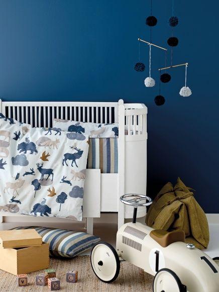 Bomull mint abstrakt blå frg ville dyr - STOFF & STIL
