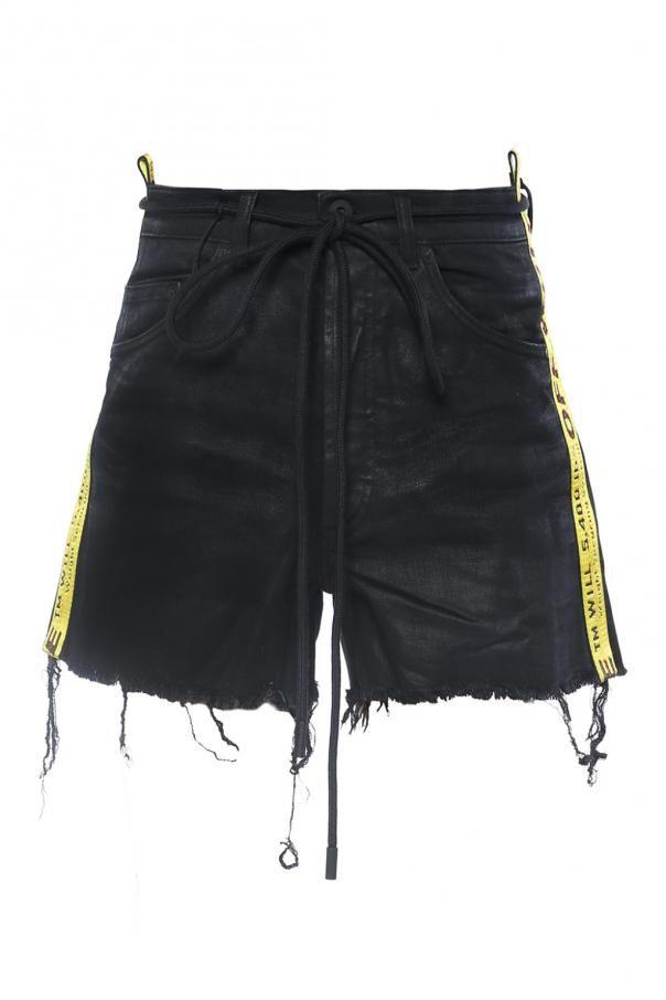 c64611fccbd9 Off White Side-stripe denim shorts - Vitkac shop onlineBlack waxed denim  shorts from Off-White. Yellow side stripes with black logo. Bu