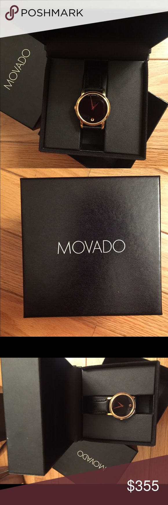 Men's Movado watch Never been worn - still in box. Brand new Movado Men's black leather strap watch. Gold face. Movado Accessories Watches