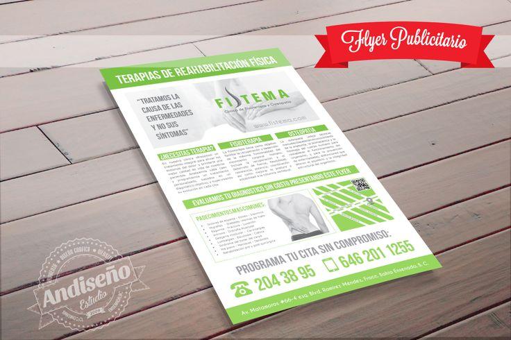 Diseño e impresión de flyers publicitarios y papelería en http://www.andiseno.com Consultas en info@andiseno.com  #Flyer #fisioterapia #osteopatía #fistema