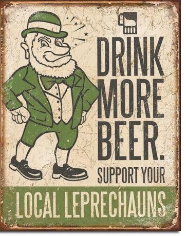 Drink More Beer | Leprechaun | Tin | Metal | Sign | Nostalgic | Vintage | Retro | Irish | Bar | A Simpler Time
