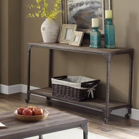 Acme Furniture Gorden Weathered Oak and 54-16-32 $189. Antique Silver Sofa Table veneer