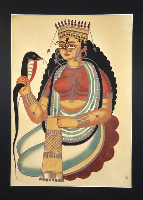 Kalighat painting is characterised by generously curving figures of both men and women and an earthy satirical style. It developed during the nineteenth century in response to the sudden prosperity brought to Calcutta by the East India Company trade, whereby many houses including that of 'Prince' Dwarkanath Tagore, grandfather of Rabindranath Tagore became incredibly wealthy. Kalighat pictures are highly stylised with flat bright colours and normally use paper as a substrate.