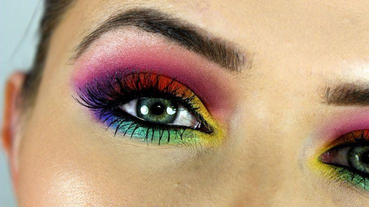 anleitung regenbogen farben augen make up lidschatten