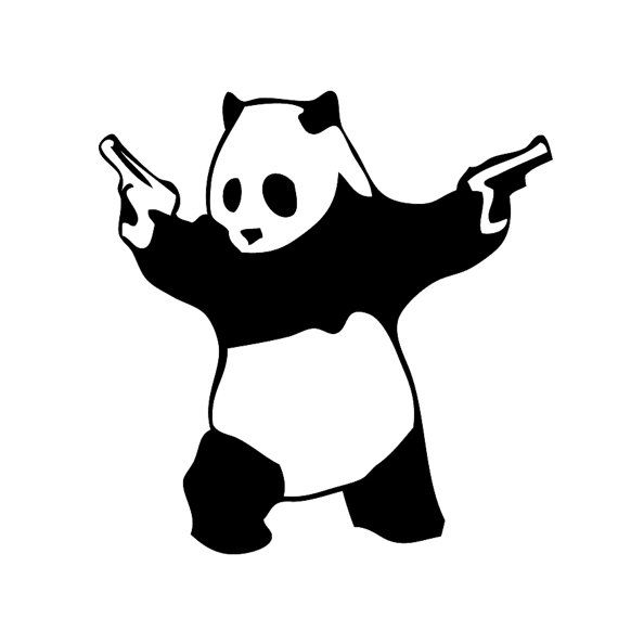 Panda with Guns Wall Decal Laptop Decal Cell by Acherryortwo, $4.99