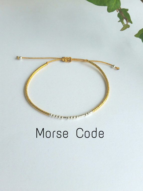 Custom secret message bracelet morse code beaded for Dot and dash design jewelry