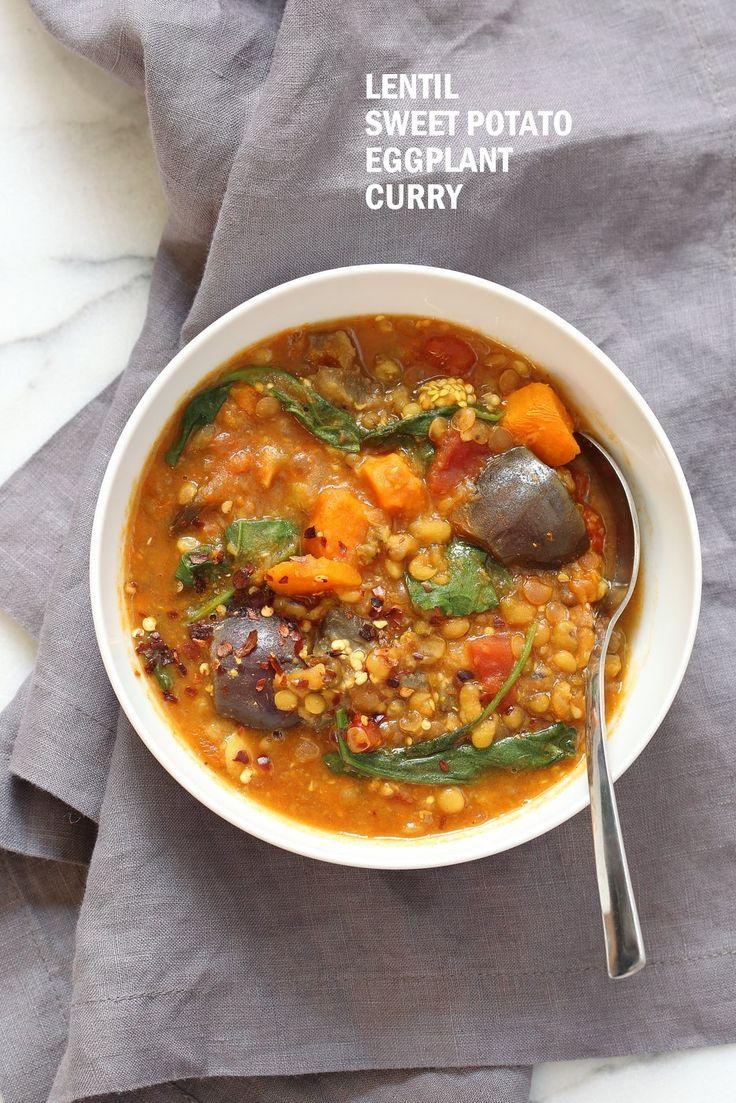 Instant Pot Eggplant Sweet Potato Lentil Curry