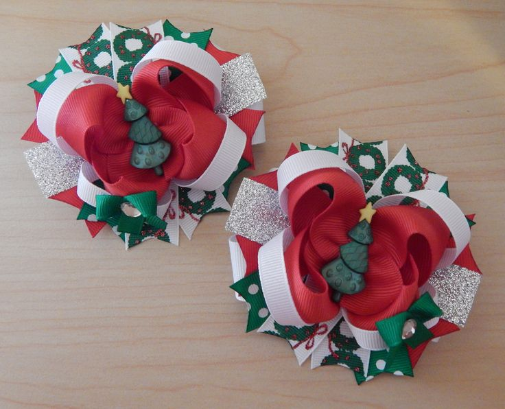1647 Best Hair Bows Images On Pinterest Hairbows Crowns And Flowers - Christmas Tree Hair Bows