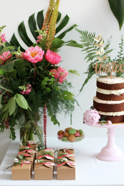 Naked chocolate cake with pink and tropical theme party and thirteen wood cake number