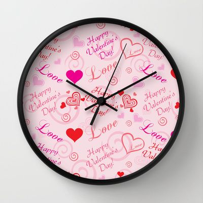 Happy Valentine's Day Wall Clock by refreshdesign !