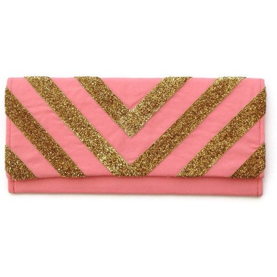 The Glitter Chevron clutch in gold and coral by {AO3} DESIGNS