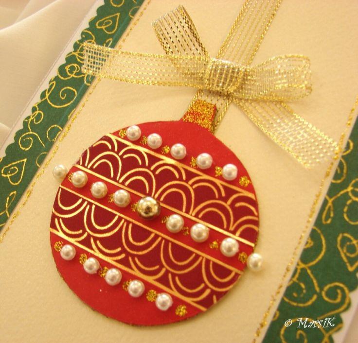 Přání s vánoční baňkou v retro stylu Přání s vánoční baňkou v retro stylu 10,5 x 15 cm