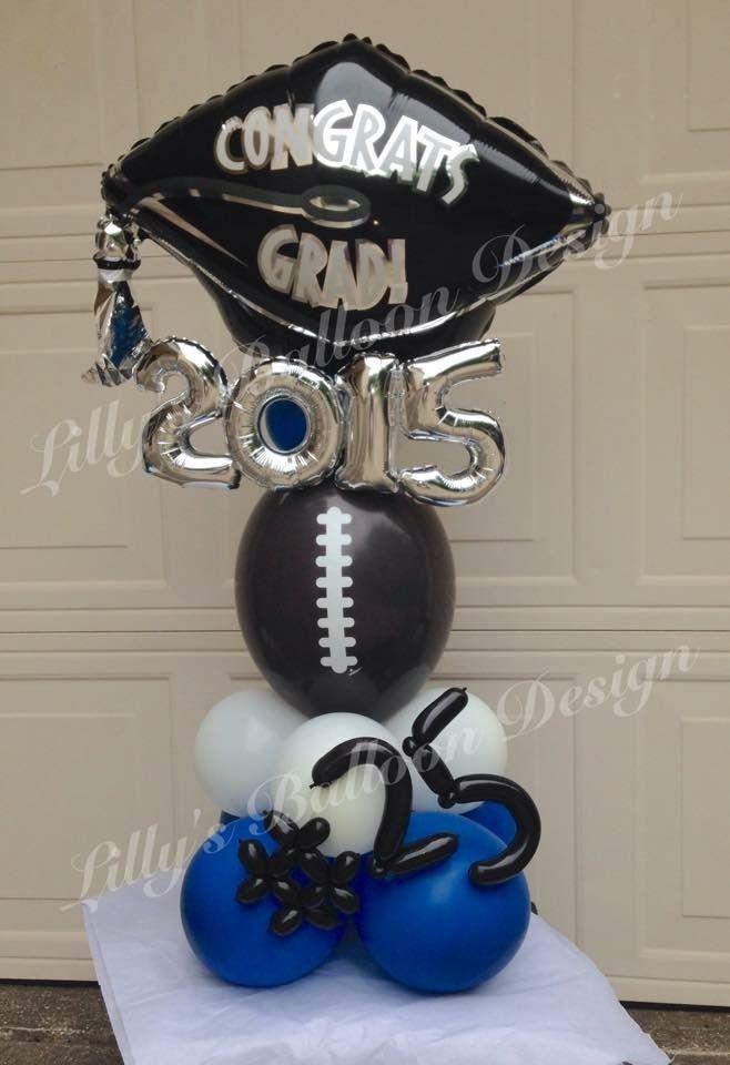 Graduation balloon centerpiece, football theme  #Balloon #centerpiece #football #graduation #theme