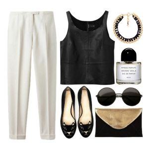 С чем носить черные балетки: укороченные белые брюки