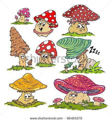 Cartoon Mushroom Drawings | cartoon mushrooms characters ...