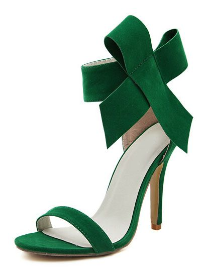 Green With Bow Back Zipper High Heeled Sandals 31.00