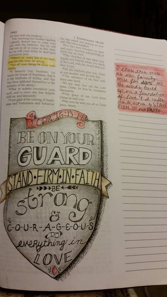 1 Corinthians 16 in journaling Bible, a family motto
