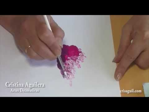 Pintar flores , rosas & glicinias , painting flowers . - YouTube