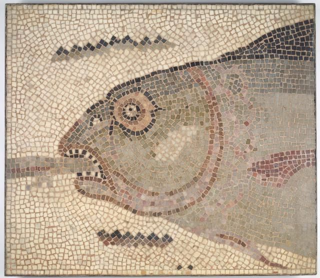 Little Known Roman Jewish Mosaic Art, Hamman Lif Synagogue in Tunisia: Fish's Head