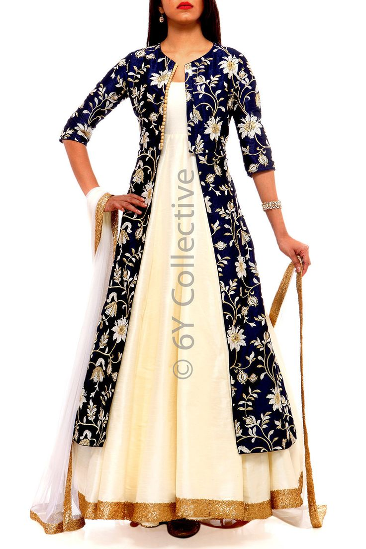 Navy Chintz Embroidery Jacket with Anarkali