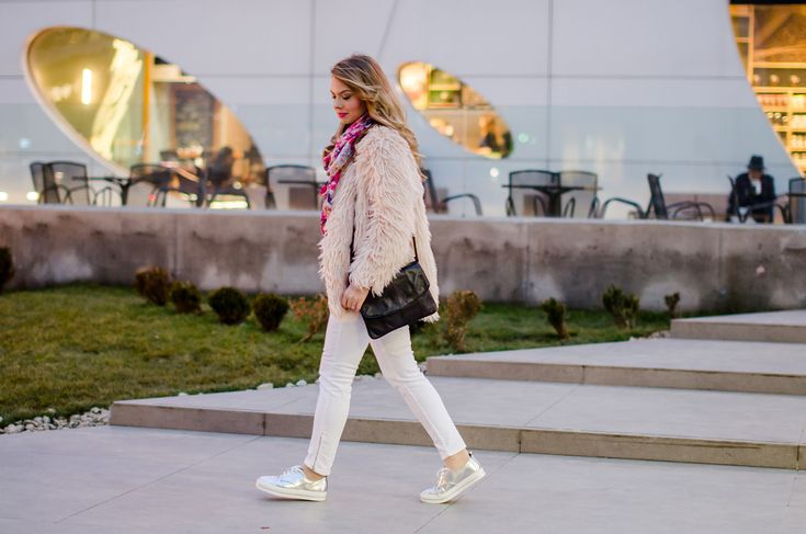 powdery pink fur cot and metallic sneakers