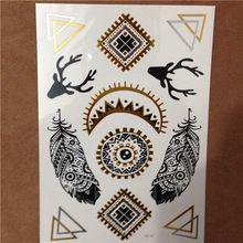 Free Shopping Prata Flash Ouro Metálico Etiqueta Do Tatuagem Tatuagens Temporárias Body Art Removível Para As Mulheres(China (Mainland))