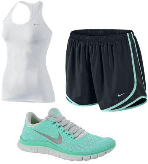 cute tennis shoes (size 8) and nike shorts (small - medium)