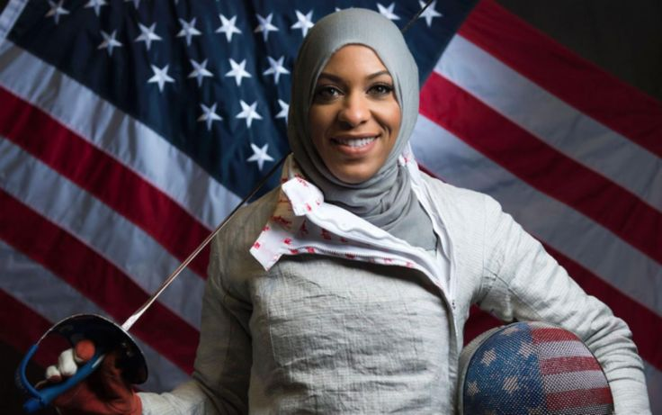 Ibtihaj Muhammad, an American sabre fencer, and a member of the United States fencing team. Best known for being the first Muslim American woman to wear a hijab while competing for the United States in the 2016 Summer Olympics.