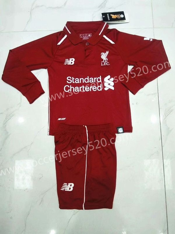 0e2f4a4bdda 2018-19 Liverpool Home Red LS Kid Youth Soccer Uniform