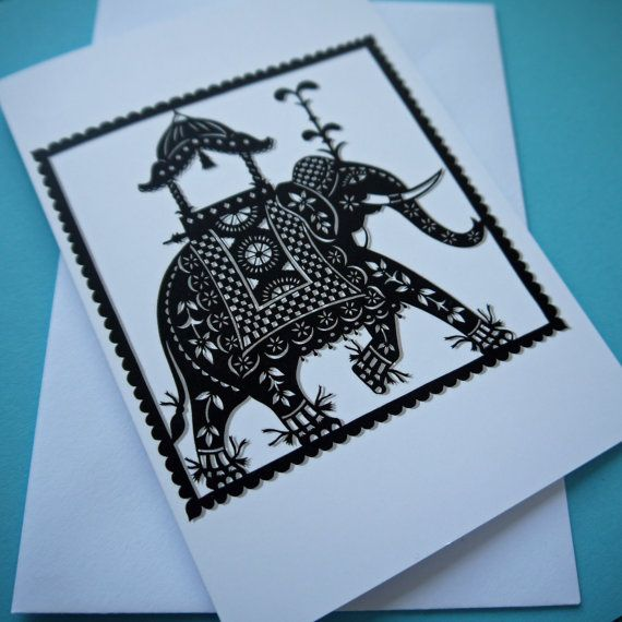 Indian Elephant greetings card by FolkArtPapercuts on Etsy, $4.65