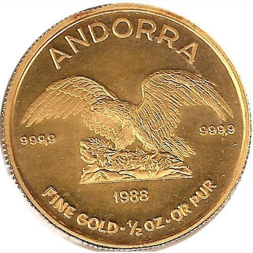 Moneda de oro 50 Diners Andorra 1988. 1/2 onza de oro.
