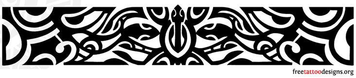 Simple Black Hawaiian Band Tattoo Stencil
