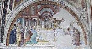 San Gimignano - Sant' Agostino, Cappella del Coro - Benozzo Gozzoli - Agostino consacrato vescovo benedice il popolo di Ippona -1464-1465 - affresco