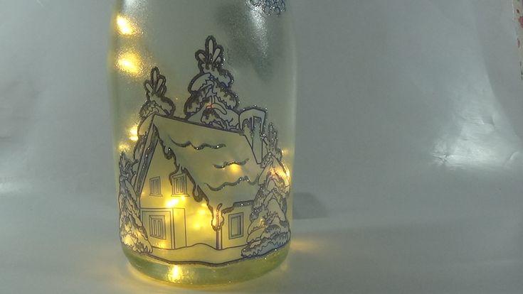 Winter lighted bottle