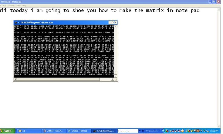 Picture of how to make the matrix in batch file / notepad