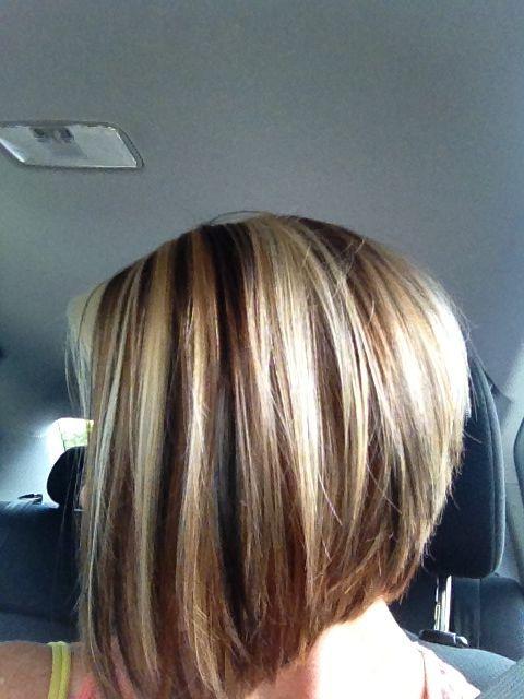 Red hair, blonde highlights, brown lowlights, short bob | Hair