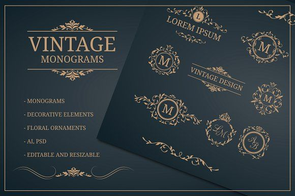 Vintage monogram  design templates by MARIA KOLYADINA on @creativemarket